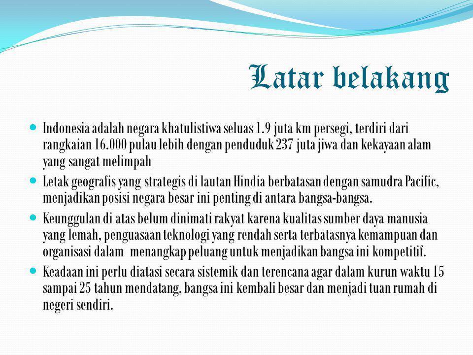 Latar belakang  Indonesia adalah negara khatulistiwa seluas 1.9 juta km persegi, terdiri dari rangkaian 16.000 pulau lebih dengan penduduk 237 juta j