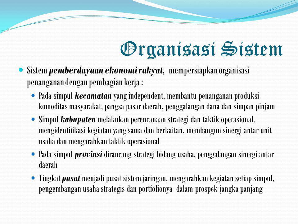 Organisasi Sistem  Sistem pemberdayaan ekonomi rakyat, mempersiapkan organisasi penanganan dengan pembagian kerja :  Pada simpul kecamatan yang inde
