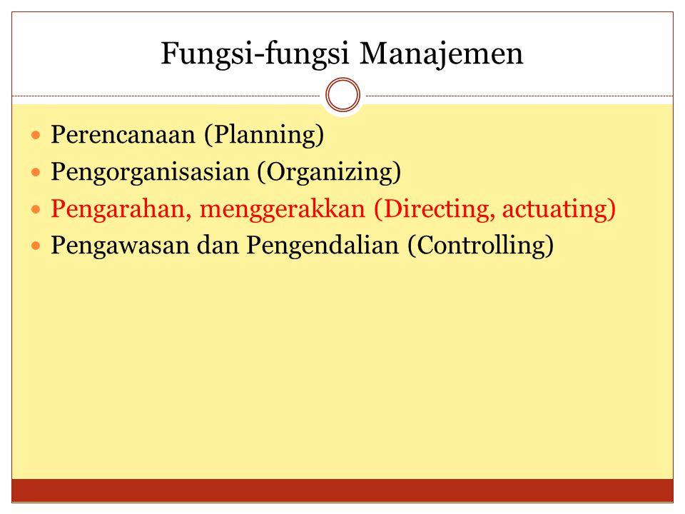 Fungsi-fungsi Manajemen  Perencanaan (Planning)  Pengorganisasian (Organizing)  Pengarahan, menggerakkan (Directing, actuating)  Pengawasan dan Pe