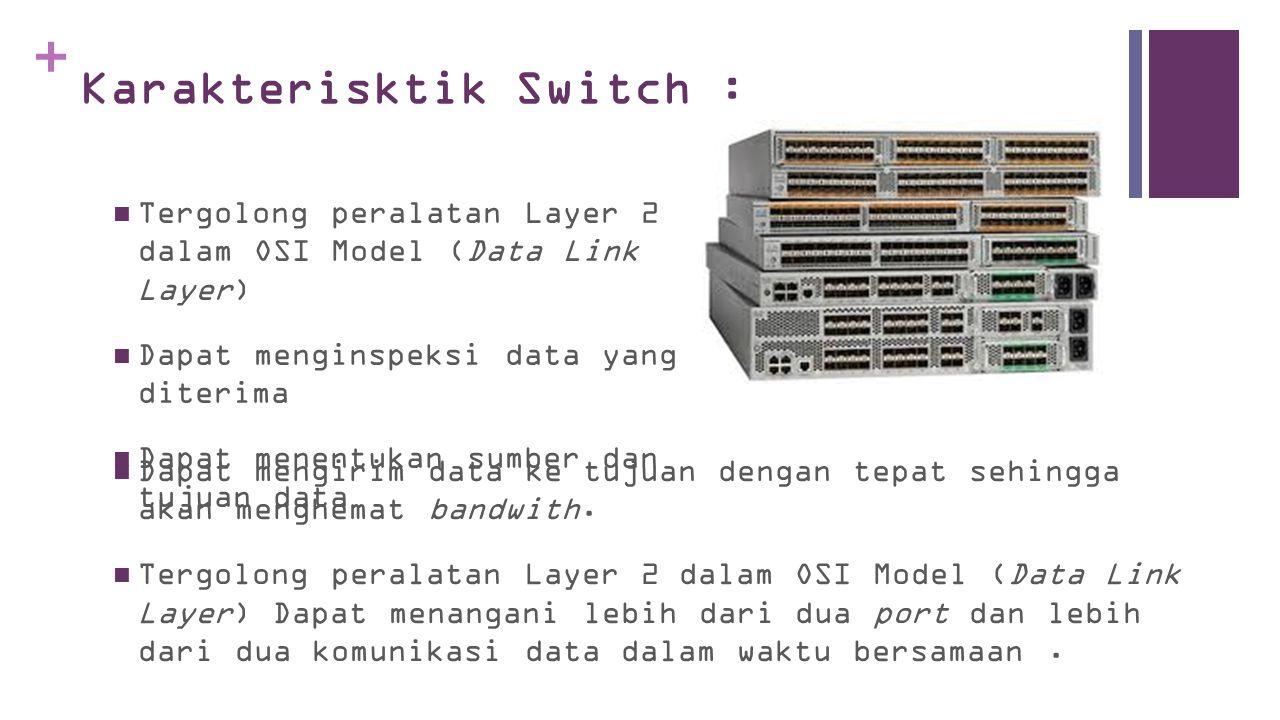 + Karakterisktik Switch :  Dapat mengirim data ke tujuan dengan tepat sehingga akan menghemat bandwith.