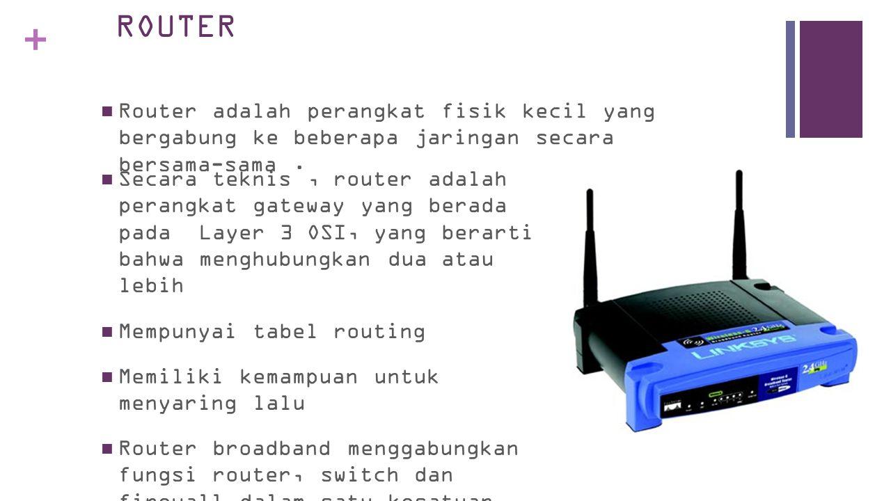+ ROUTER  Router adalah perangkat fisik kecil yang bergabung ke beberapa jaringan secara bersama-sama.