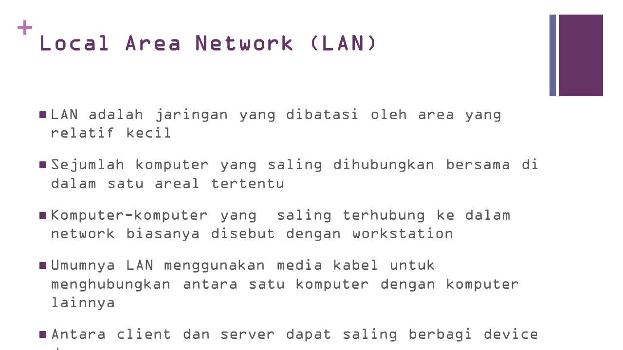 + Local Area Network (LAN)  LAN adalah jaringan yang dibatasi oleh area yang relatif kecil  Sejumlah komputer yang saling dihubungkan bersama di dalam satu areal tertentu  Komputer-komputer yang saling terhubung ke dalam network biasanya disebut dengan workstation  Umumnya LAN menggunakan media kabel untuk menghubungkan antara satu komputer dengan komputer lainnya  Antara client dan server dapat saling berbagi device dan resource