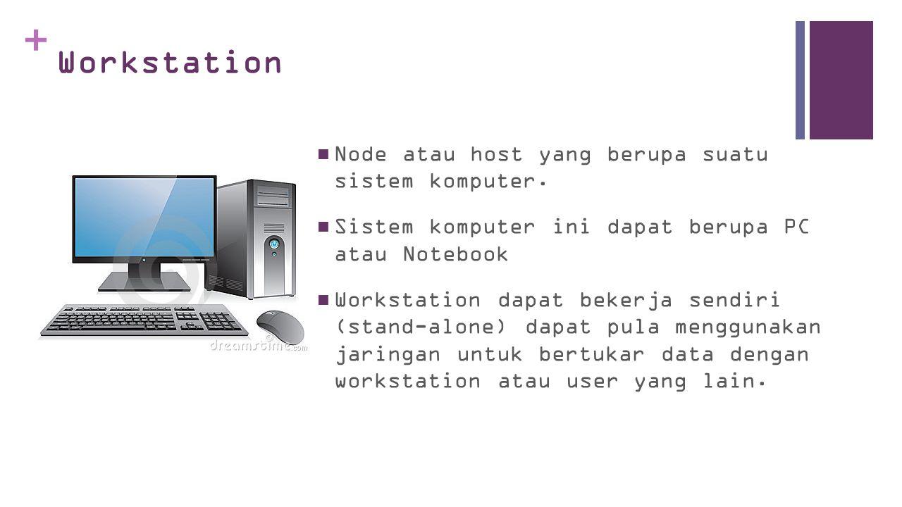+ SERVER  Melayani jaringan dan workstation yang terhubung pada jaringan tersebut  Pada umumnya sumber daya (resources) yang digunakan bersama berada dan bekerja pada server  Server juga dapat mempunyai beberapa fungsi pelayanan sekaligus