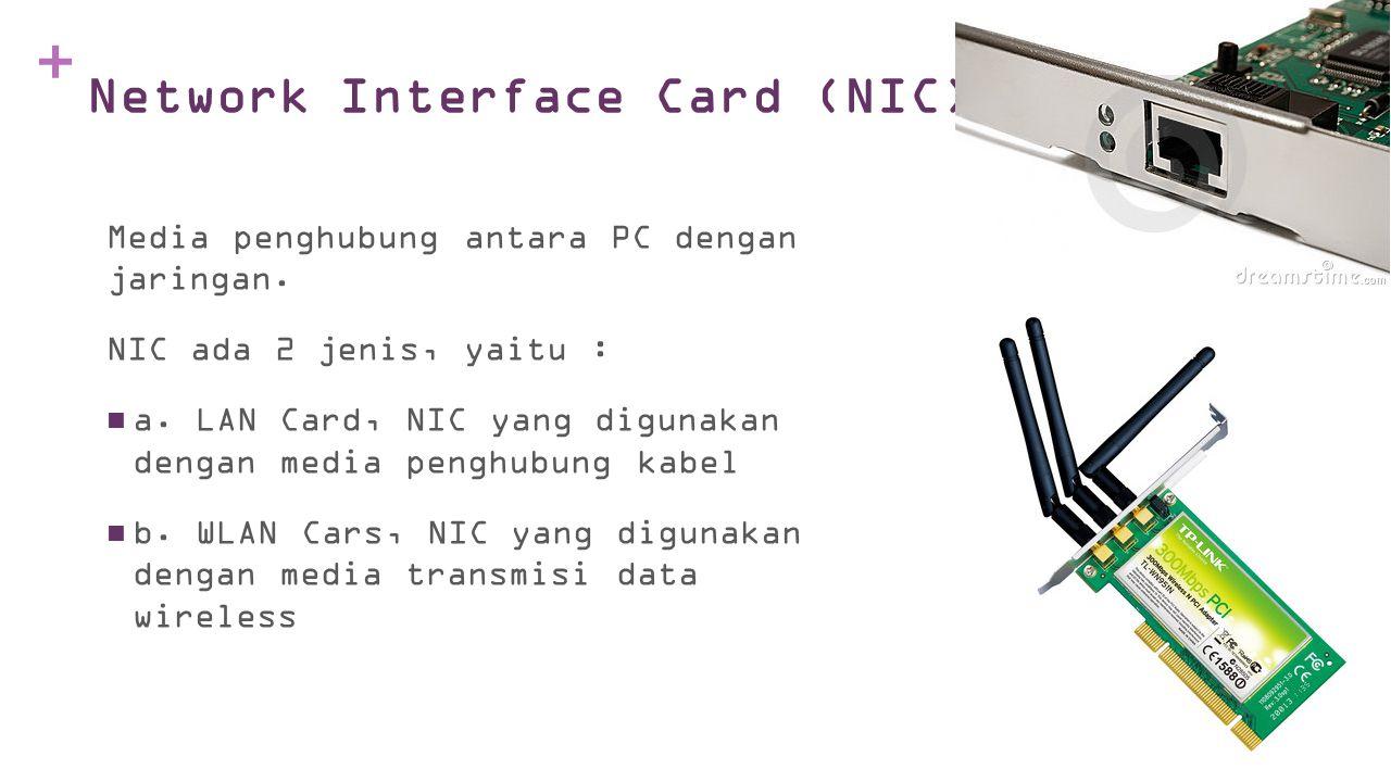 + Network Interface Card (NIC) Media penghubung antara PC dengan jaringan.