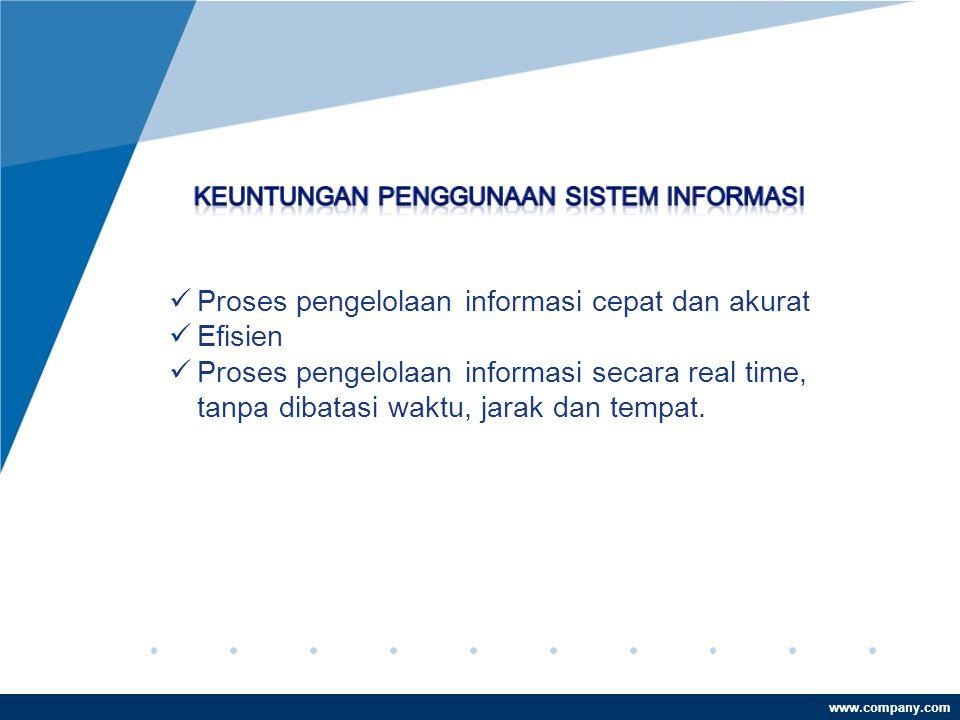 www.company.com  Proses pengelolaan informasi cepat dan akurat  Efisien  Proses pengelolaan informasi secara real time, tanpa dibatasi waktu, jarak dan tempat.