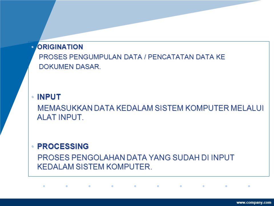 www.company.com •ORIGINATION PROSES PENGUMPULAN DATA / PENCATATAN DATA KE PROSES PENGUMPULAN DATA / PENCATATAN DATA KE DOKUMEN DASAR.