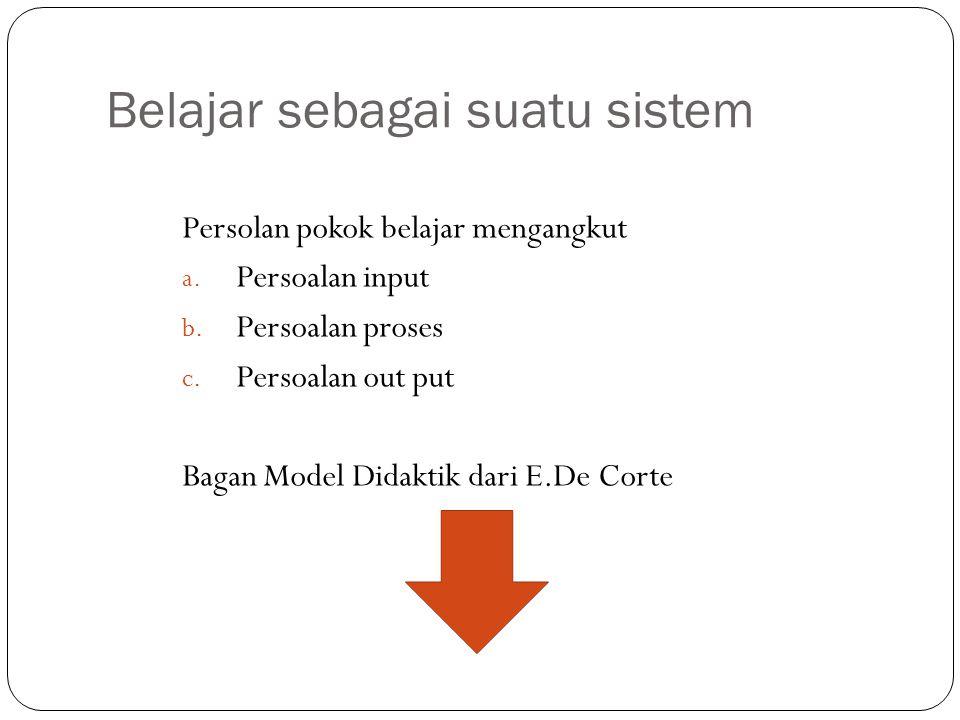 Belajar sebagai suatu sistem Persolan pokok belajar mengangkut a. Persoalan input b. Persoalan proses c. Persoalan out put Bagan Model Didaktik dari E