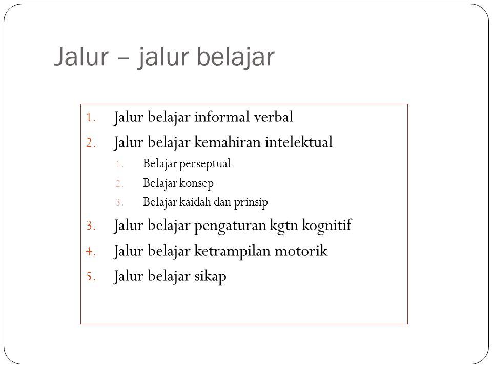 Jalur – jalur belajar 1. Jalur belajar informal verbal 2. Jalur belajar kemahiran intelektual 1. Belajar perseptual 2. Belajar konsep 3. Belajar kaida