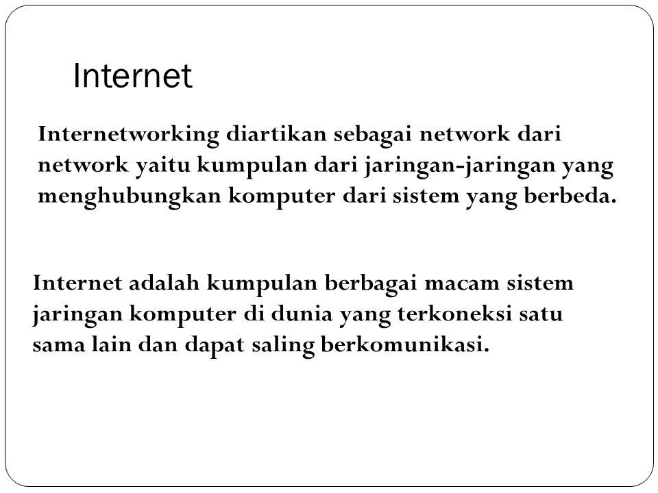 Internet Internetworking diartikan sebagai network dari network yaitu kumpulan dari jaringan-jaringan yang menghubungkan komputer dari sistem yang ber