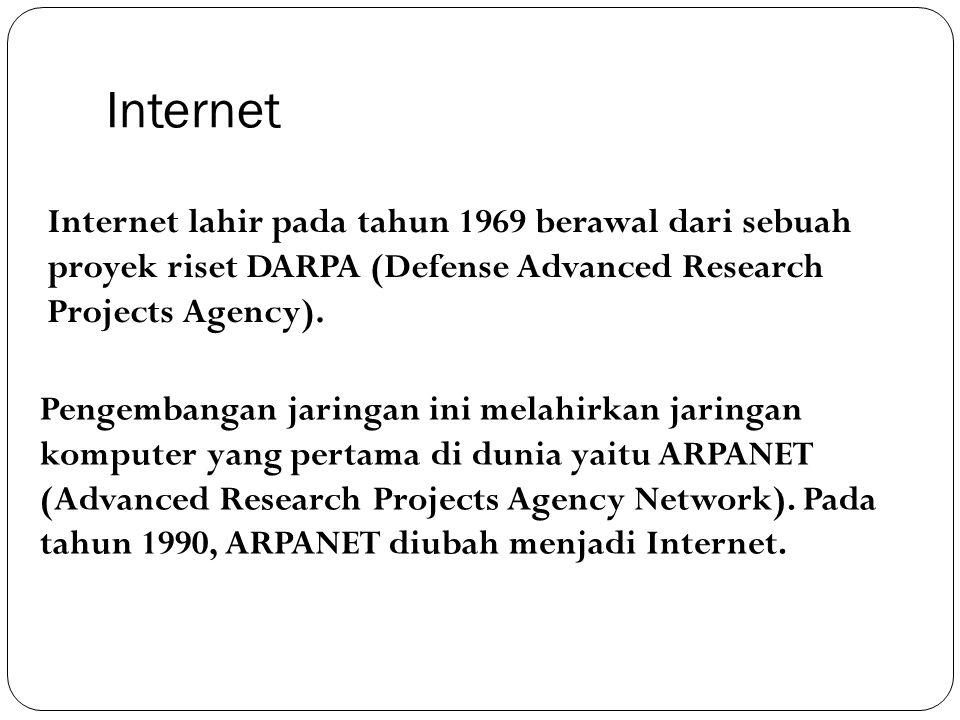 Internet Internet lahir pada tahun 1969 berawal dari sebuah proyek riset DARPA (Defense Advanced Research Projects Agency). Pengembangan jaringan ini