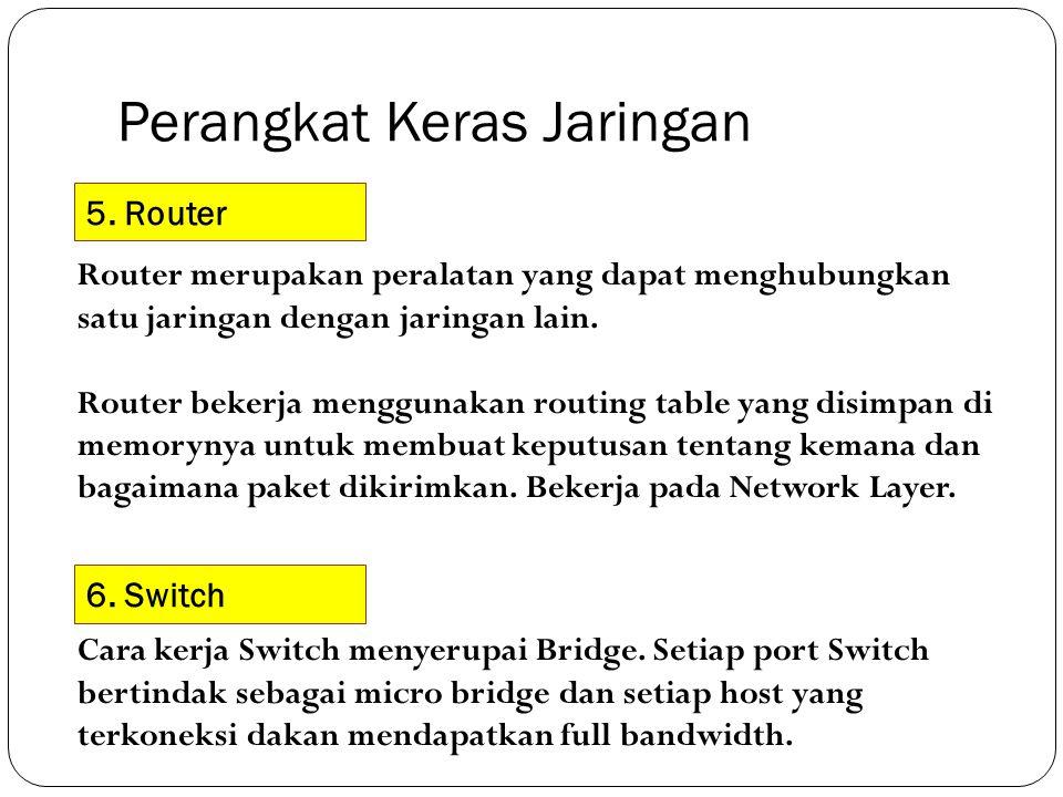 Perangkat Keras Jaringan 5. Router Router merupakan peralatan yang dapat menghubungkan satu jaringan dengan jaringan lain. Router bekerja menggunakan