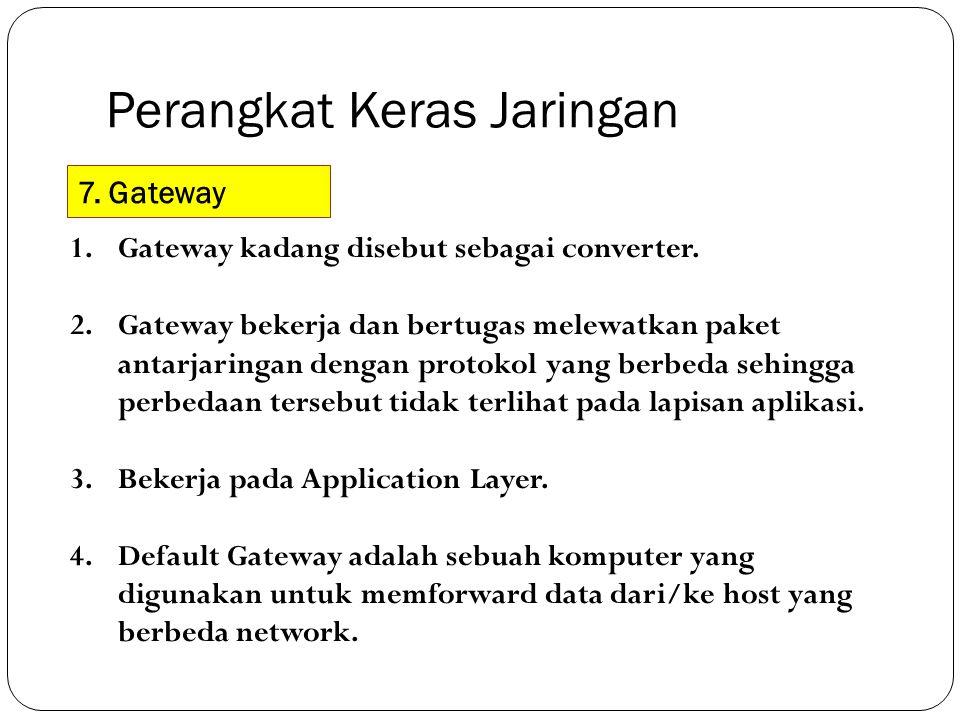Perangkat Keras Jaringan 7. Gateway 1.Gateway kadang disebut sebagai converter. 2.Gateway bekerja dan bertugas melewatkan paket antarjaringan dengan p