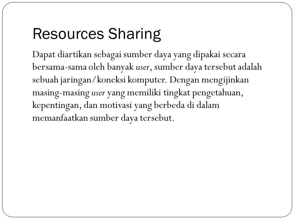 Resources Sharing Dapat diartikan sebagai sumber daya yang dipakai secara bersama-sama oleh banyak user, sumber daya tersebut adalah sebuah jaringan/k