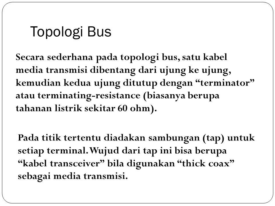 """Secara sederhana pada topologi bus, satu kabel media transmisi dibentang dari ujung ke ujung, kemudian kedua ujung ditutup dengan """"terminator"""" atau te"""
