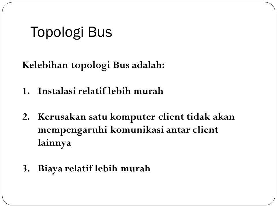 Topologi Bus Kelebihan topologi Bus adalah: 1.Instalasi relatif lebih murah 2.Kerusakan satu komputer client tidak akan mempengaruhi komunikasi antar