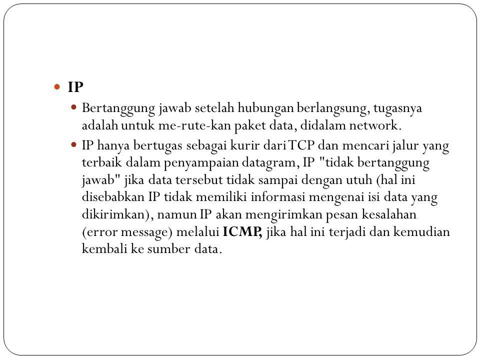  IP  Bertanggung jawab setelah hubungan berlangsung, tugasnya adalah untuk me-rute-kan paket data, didalam network.  IP hanya bertugas sebagai kuri