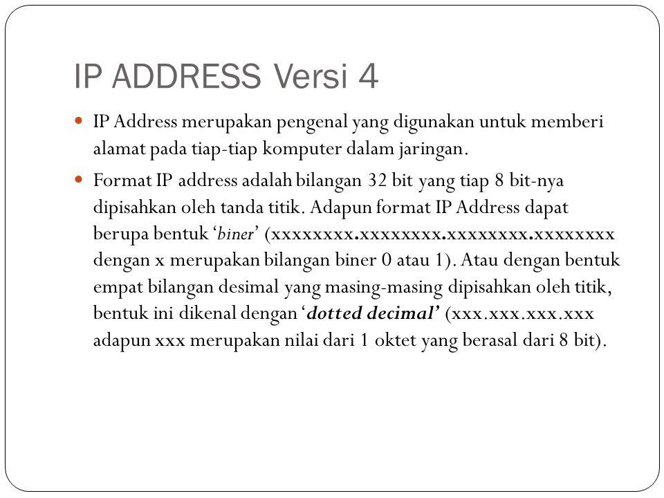 IP ADDRESS Versi 4  IP Address merupakan pengenal yang digunakan untuk memberi alamat pada tiap-tiap komputer dalam jaringan.  Format IP address ada