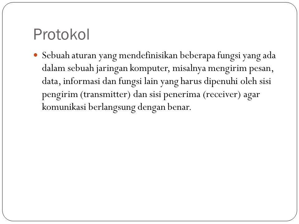 Protokol  Sebuah aturan yang mendefinisikan beberapa fungsi yang ada dalam sebuah jaringan komputer, misalnya mengirim pesan, data, informasi dan fungsi lain yang harus dipenuhi oleh sisi pengirim (transmitter) dan sisi penerima (receiver) agar komunikasi berlangsung dengan benar.