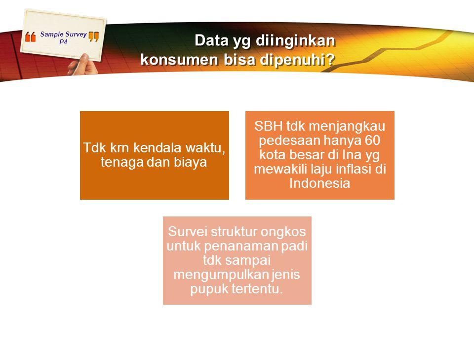 Sample Survey P4 Data yg diinginkan konsumen bisa dipenuhi? Tdk krn kendala waktu, tenaga dan biaya SBH tdk menjangkau pedesaan hanya 60 kota besar di