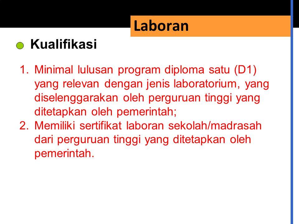 Laboran Kualifikasi 1.Minimal lulusan program diploma satu (D1) yang relevan dengan jenis laboratorium, yang diselenggarakan oleh perguruan tinggi yan