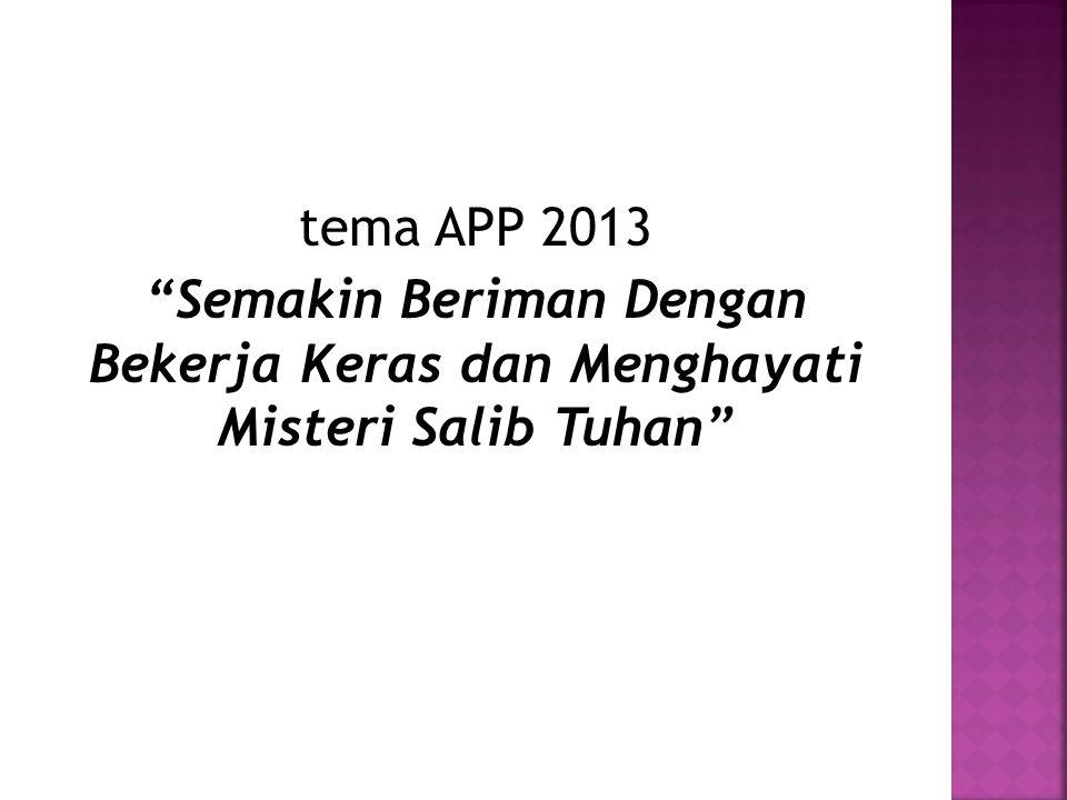 tema APP 2013 Semakin Beriman Dengan Bekerja Keras dan Menghayati Misteri Salib Tuhan