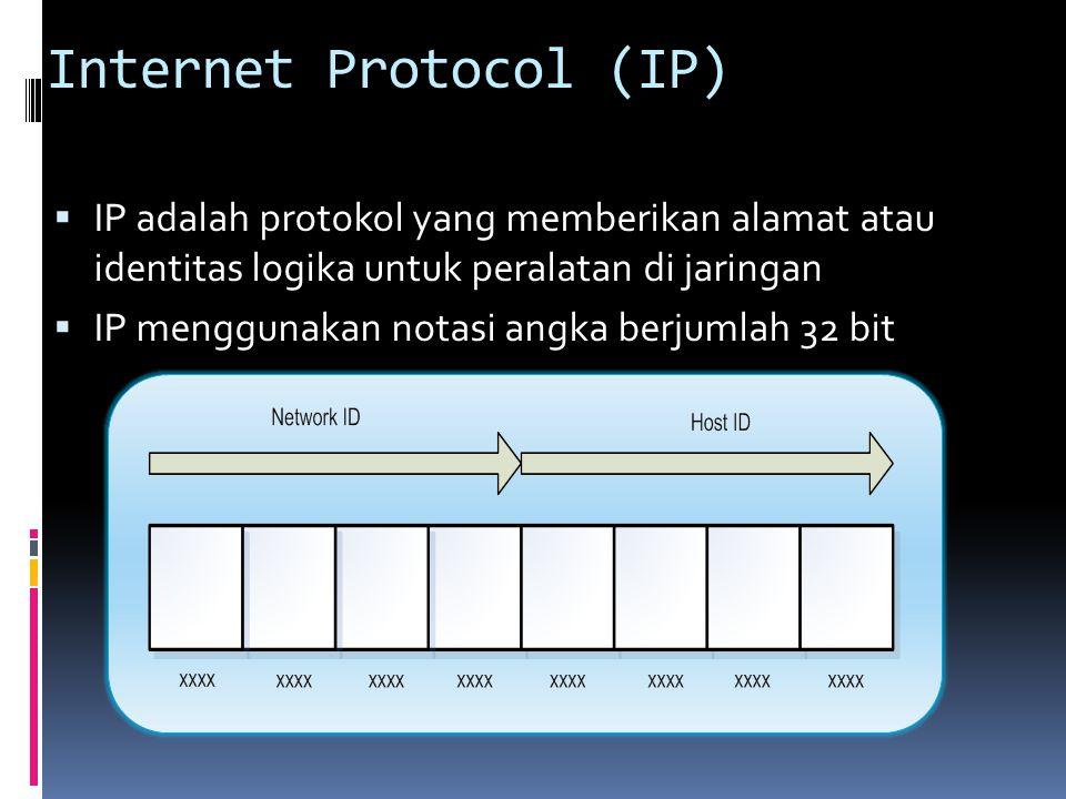 Internet Protocol (IP)  IP adalah protokol yang memberikan alamat atau identitas logika untuk peralatan di jaringan  IP menggunakan notasi angka ber