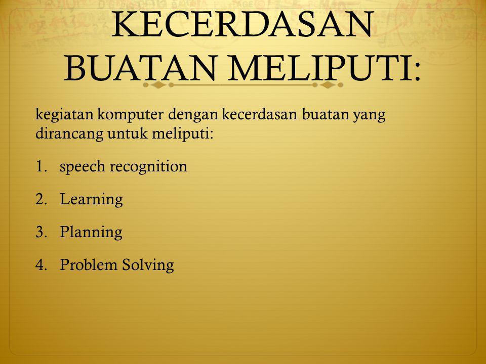 KECERDASAN BUATAN MELIPUTI: kegiatan komputer dengan kecerdasan buatan yang dirancang untuk meliputi: 1.speech recognition 2.Learning 3.Planning 4.Problem Solving