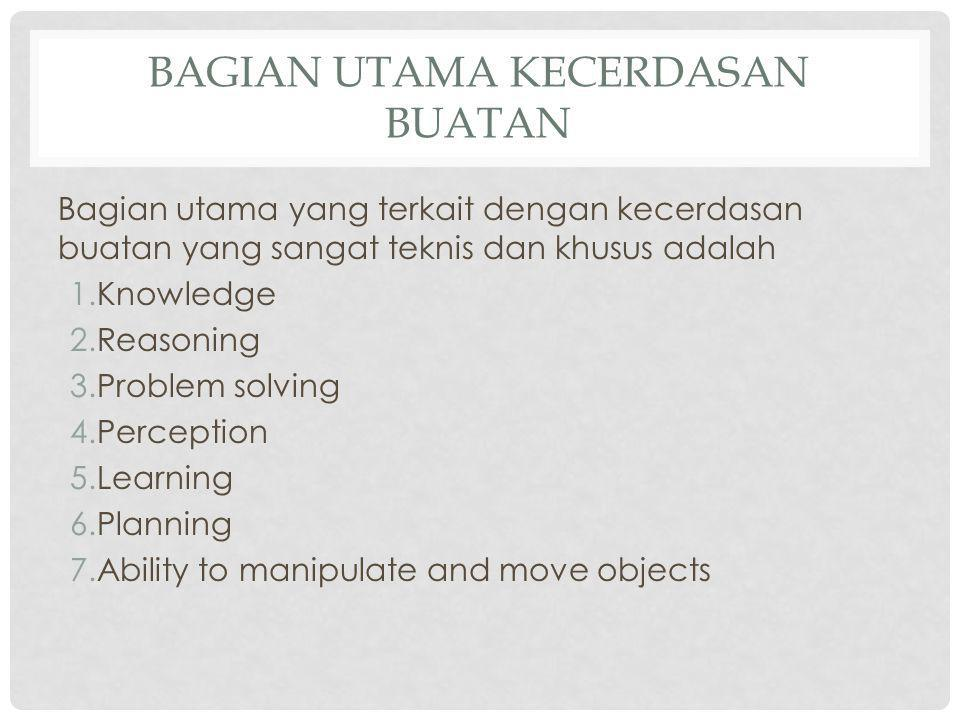 BAGIAN UTAMA KECERDASAN BUATAN Bagian utama yang terkait dengan kecerdasan buatan yang sangat teknis dan khusus adalah 1.Knowledge 2.Reasoning 3.Probl