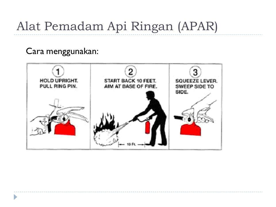 Alat Pemadam Api Ringan (APAR) Cara menggunakan: