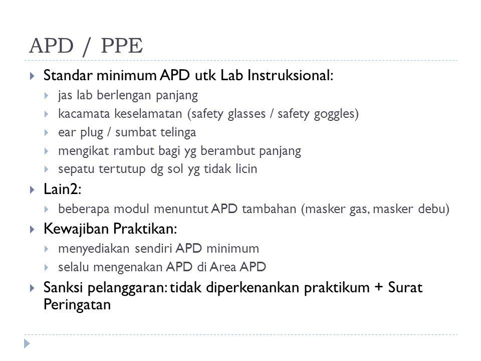 APD / PPE  Standar minimum APD utk Lab Instruksional:  jas lab berlengan panjang  kacamata keselamatan (safety glasses / safety goggles)  ear plug