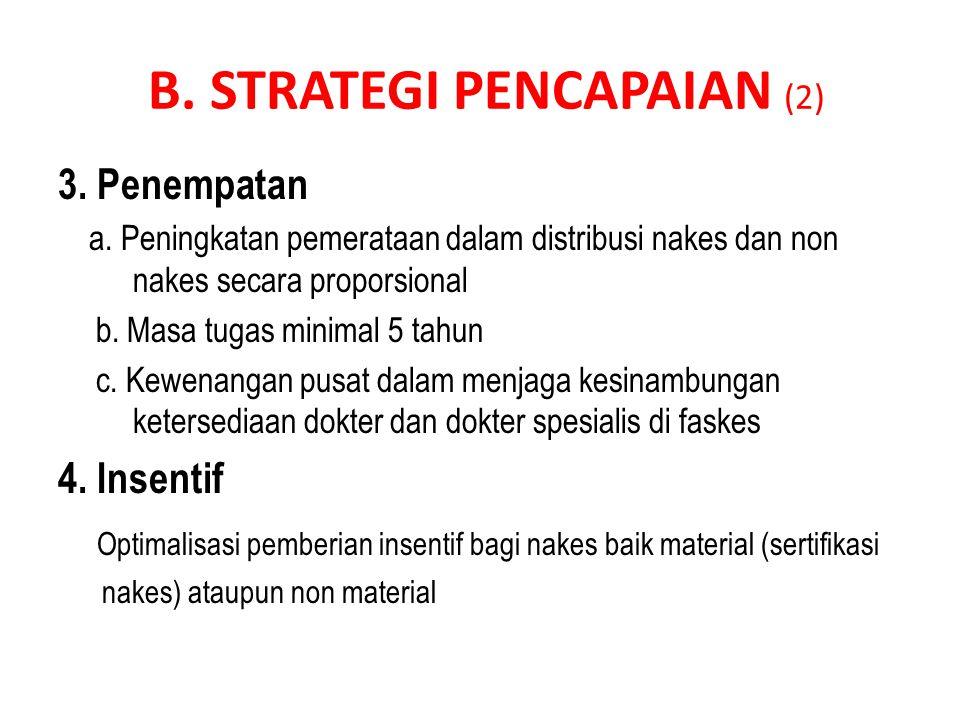 B. STRATEGI PENCAPAIAN (2) 3. Penempatan a. Peningkatan pemerataan dalam distribusi nakes dan non nakes secara proporsional b. Masa tugas minimal 5 ta