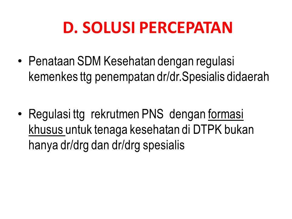 D. SOLUSI PERCEPATAN • Penataan SDM Kesehatan dengan regulasi kemenkes ttg penempatan dr/dr.Spesialis didaerah • Regulasi ttg rekrutmen PNS dengan for