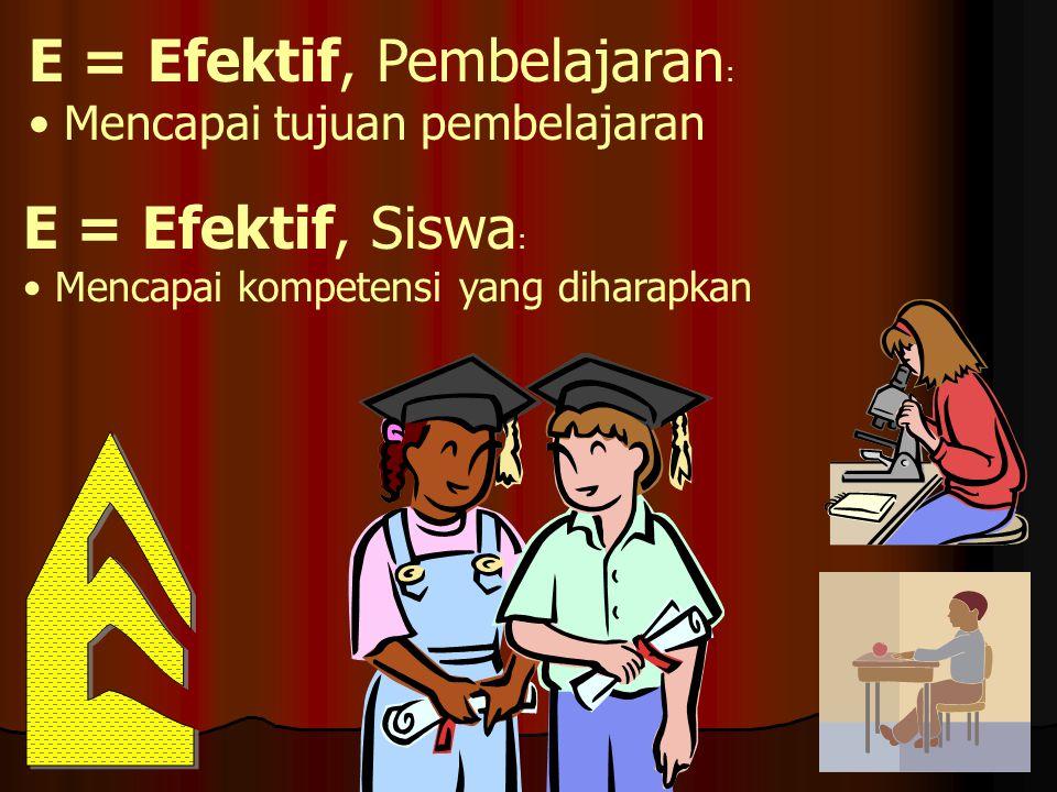 E = Efektif, Pembelajaran : • Mencapai tujuan pembelajaran E = Efektif, Siswa : • Mencapai kompetensi yang diharapkan