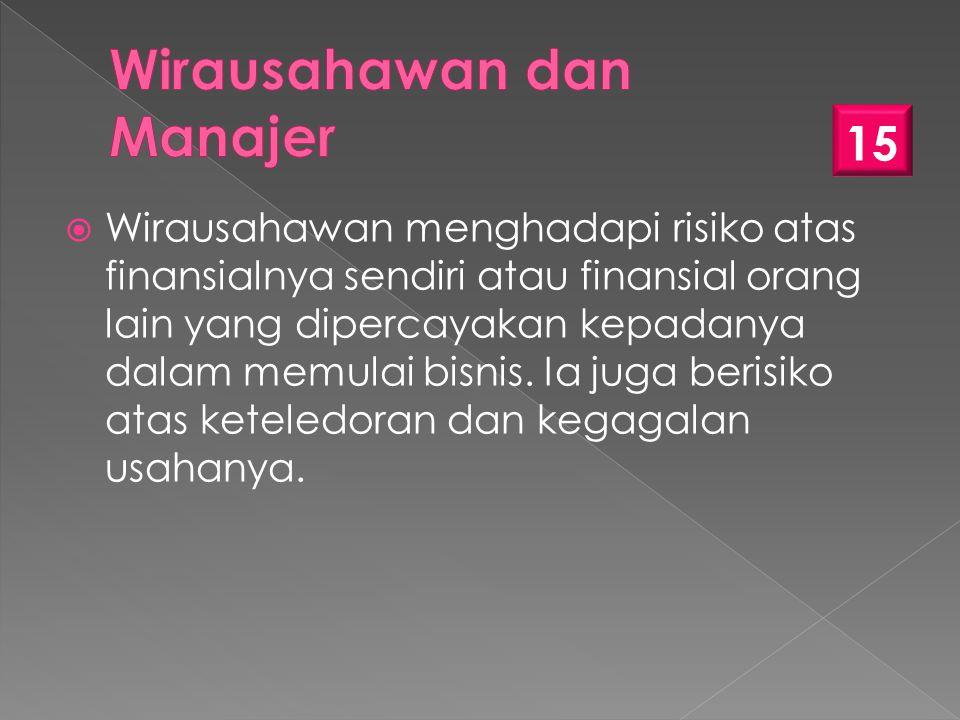  Wirausahawan menghadapi risiko atas finansialnya sendiri atau finansial orang lain yang dipercayakan kepadanya dalam memulai bisnis.