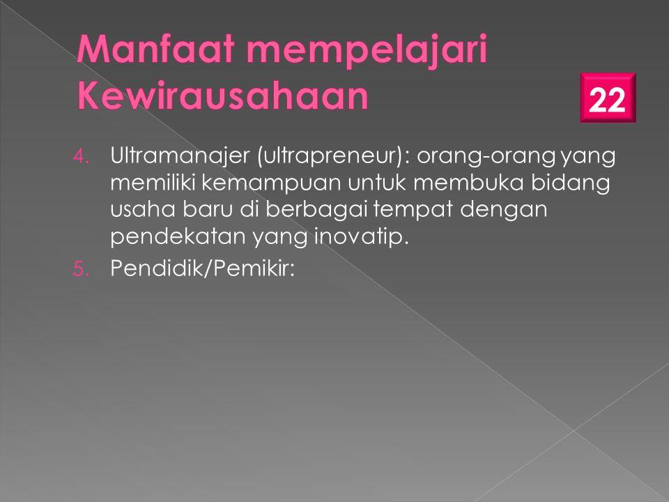 4. Ultramanajer (ultrapreneur): orang-orang yang memiliki kemampuan untuk membuka bidang usaha baru di berbagai tempat dengan pendekatan yang inovatip