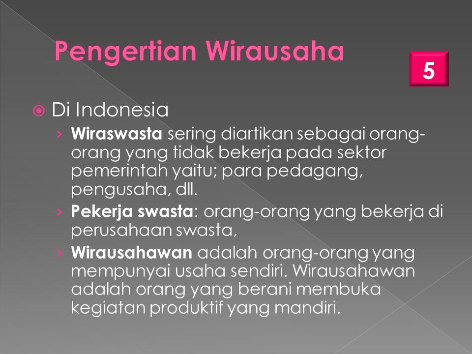  Di Indonesia › Wiraswasta sering diartikan sebagai orang- orang yang tidak bekerja pada sektor pemerintah yaitu; para pedagang, pengusaha, dll.