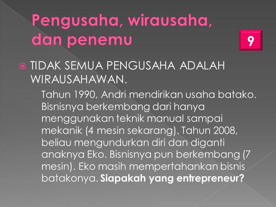 TIDAK SEMUA PENGUSAHA ADALAH WIRAUSAHAWAN.Tahun 1990, Andri mendirikan usaha batako.