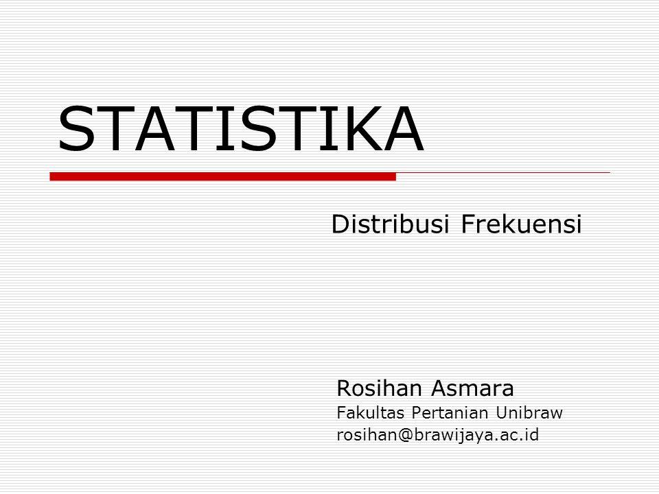Raw Data dan Array  Raw Data (Data Mentah) Data yang telah dikumpulkan dan dicatat tetapi belum diringkas  Array Data Kuantitatif yang telah disusun dari nilai yang kecil ke nilai yang lebih besar atau sebaliknya Raw DataArray 2116 2217 18 2019 2120 2721 1621 2422 dan seterusnya