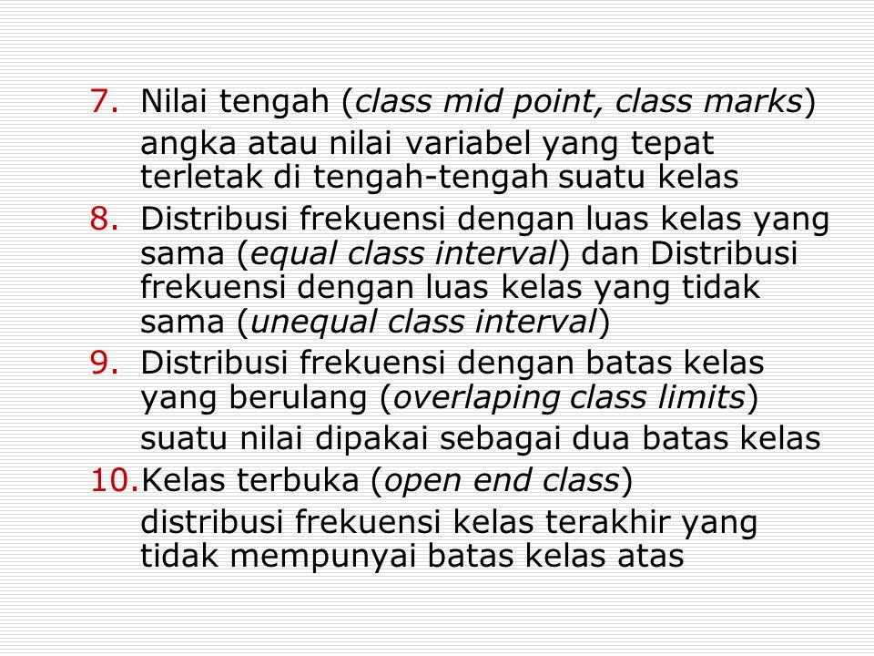 7.Nilai tengah (class mid point, class marks) angka atau nilai variabel yang tepat terletak di tengah-tengah suatu kelas 8.Distribusi frekuensi dengan