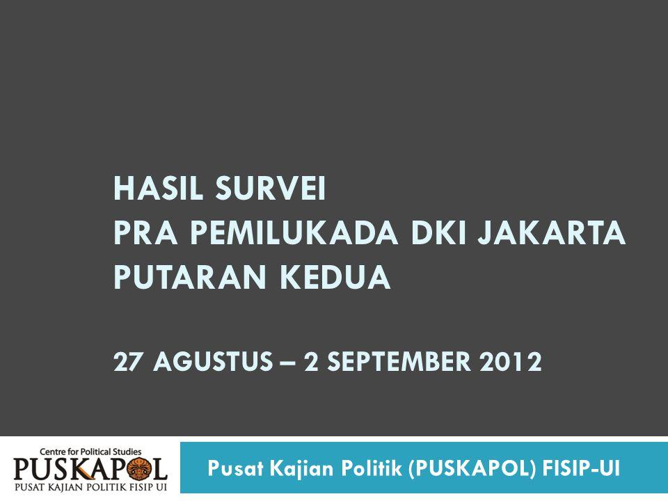 HASIL SURVEI PRA PEMILUKADA DKI JAKARTA PUTARAN KEDUA 27 AGUSTUS – 2 SEPTEMBER 2012 Pusat Kajian Politik (PUSKAPOL) FISIP-UI