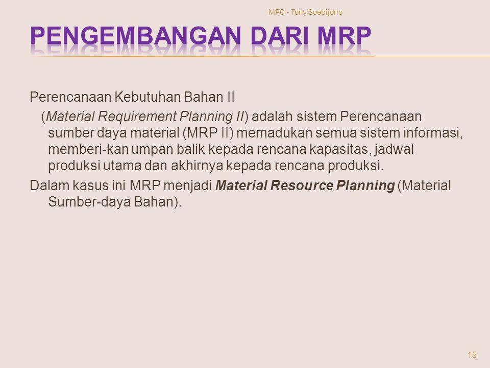 Perencanaan Kebutuhan Bahan II (Material Requirement Planning II) adalah sistem Perencanaan sumber daya material (MRP II) memadukan semua sistem infor