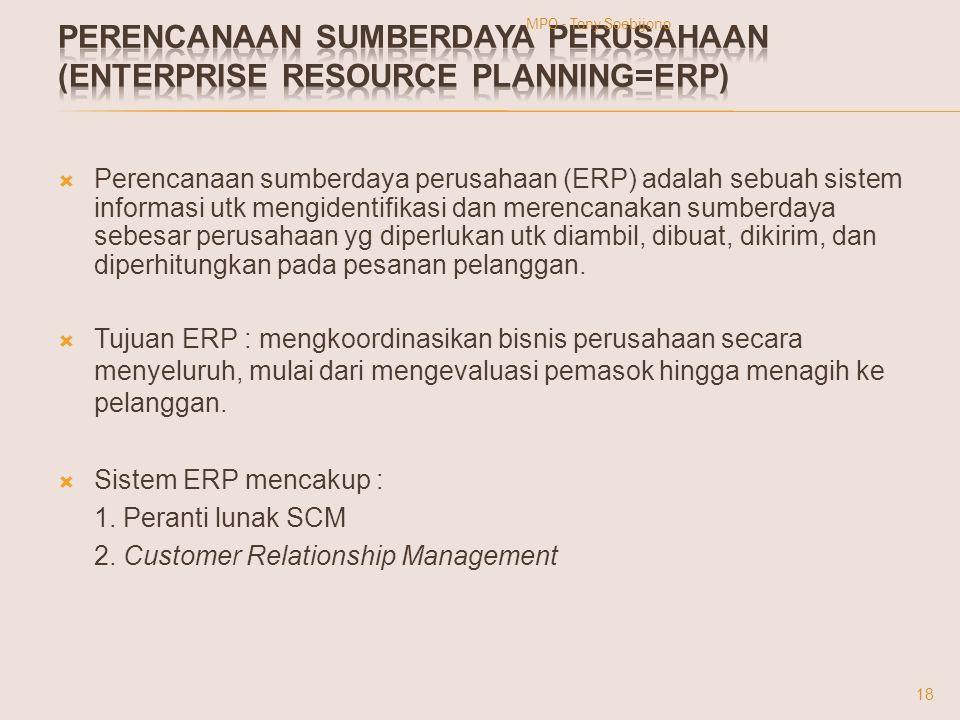  Perencanaan sumberdaya perusahaan (ERP) adalah sebuah sistem informasi utk mengidentifikasi dan merencanakan sumberdaya sebesar perusahaan yg diperl