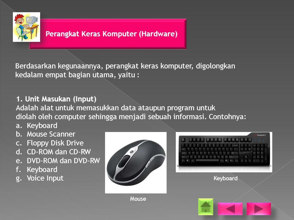 Perangkat Keras Komputer (Hardware) Berdasarkan kegunaannya, perangkat keras komputer, digolongkan kedalam empat bagian utama, yaitu : 1.