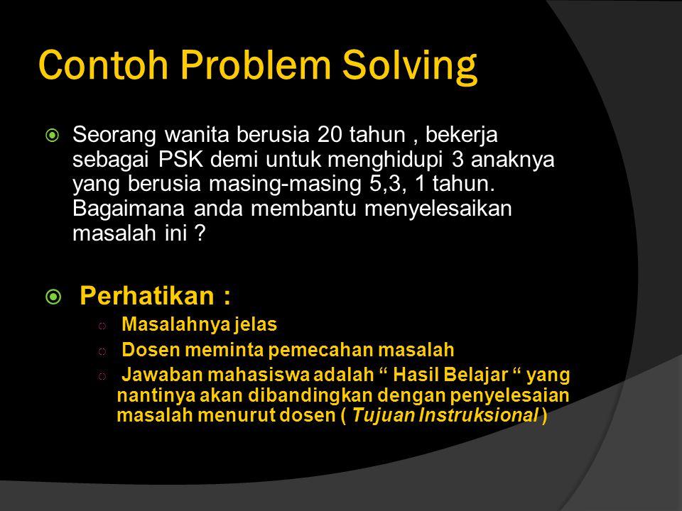 Contoh Problem Solving  Seorang wanita berusia 20 tahun, bekerja sebagai PSK demi untuk menghidupi 3 anaknya yang berusia masing-masing 5,3, 1 tahun.