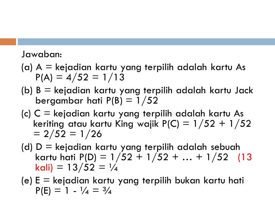 Jawaban: (a) A = kejadian kartu yang terpilih adalah kartu As P(A) = 4/52 = 1/13 (b) B = kejadian kartu yang terpilih adalah kartu Jack bergambar hati
