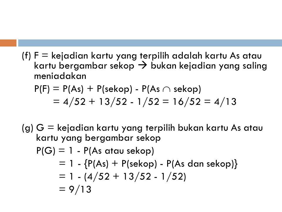 (f) F = kejadian kartu yang terpilih adalah kartu As atau kartu bergambar sekop  bukan kejadian yang saling meniadakan P(F) = P(As) + P(sekop) - P(As