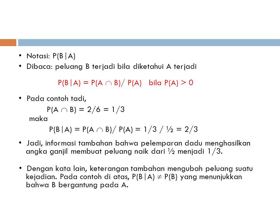 • Notasi: P(B|A) • Dibaca: peluang B terjadi bila diketahui A terjadi P(B|A) = P(A  B)/ P(A) bila P(A) > 0 • Pada contoh tadi, P(A  B) = 2/6 = 1/3 m