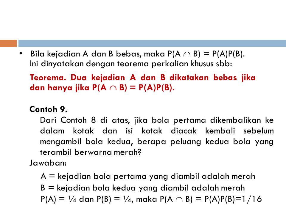 • Bila kejadian A dan B bebas, maka P(A  B) = P(A)P(B). Ini dinyatakan dengan teorema perkalian khusus sbb: Teorema. Dua kejadian A dan B dikatakan b