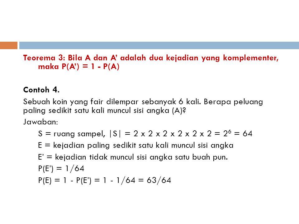 Teorema 3: Bila A dan A' adalah dua kejadian yang komplementer, maka P(A') = 1 - P(A) Contoh 4. Sebuah koin yang fair dilempar sebanyak 6 kali. Berapa