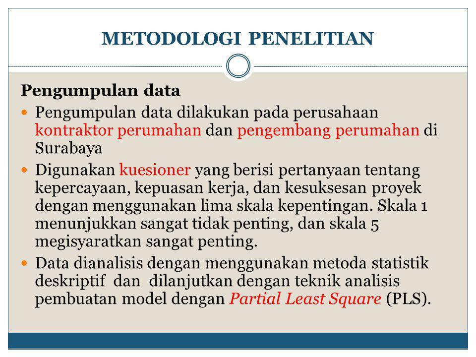 METODOLOGI PENELITIAN Pengumpulan data  Pengumpulan data dilakukan pada perusahaan kontraktor perumahan dan pengembang perumahan di Surabaya  Digunakan kuesioner yang berisi pertanyaan tentang kepercayaan, kepuasan kerja, dan kesuksesan proyek dengan menggunakan lima skala kepentingan.